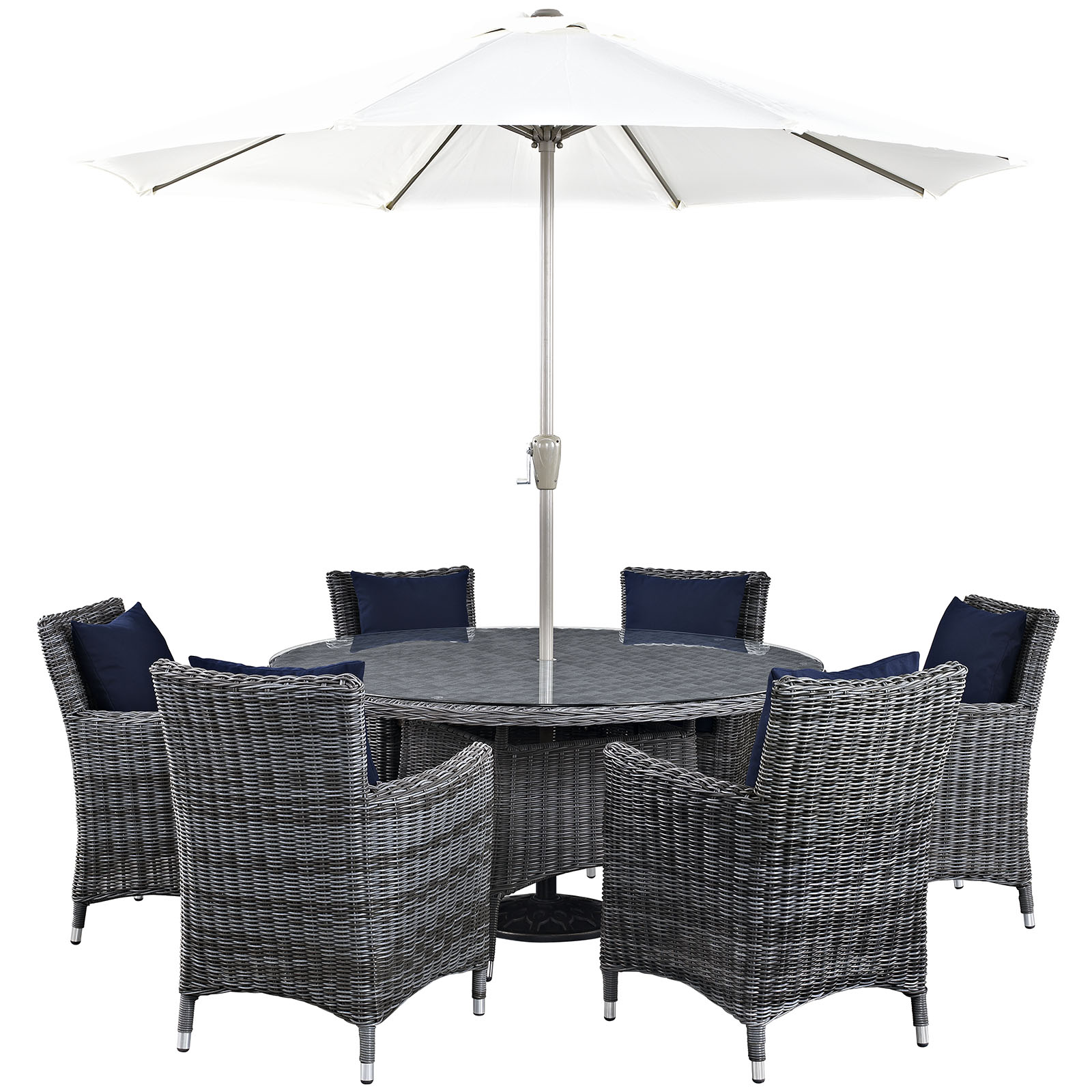 Modern Contemporary Urban Design Outdoor Patio Balcony Eight PCS Dining Chairs and Table Set, Navy Blue, Rattan