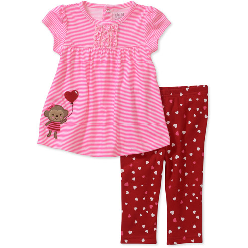 Child of Mine by Carters Newborn Baby Girls' 2 Piece Heart Tunic and Pant Set