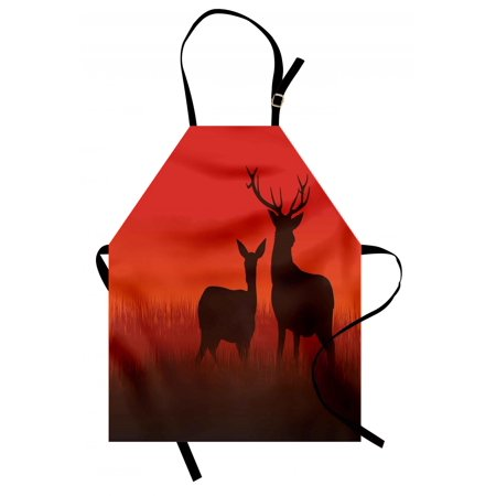 Hunting Apron Silhouette Illustration of a Deer and Doe on Meadow Animals Autumn Season Skyline, Unisex Kitchen Bib Apron with Adjustable Neck for Cooking Baking Gardening, Multicolor, by