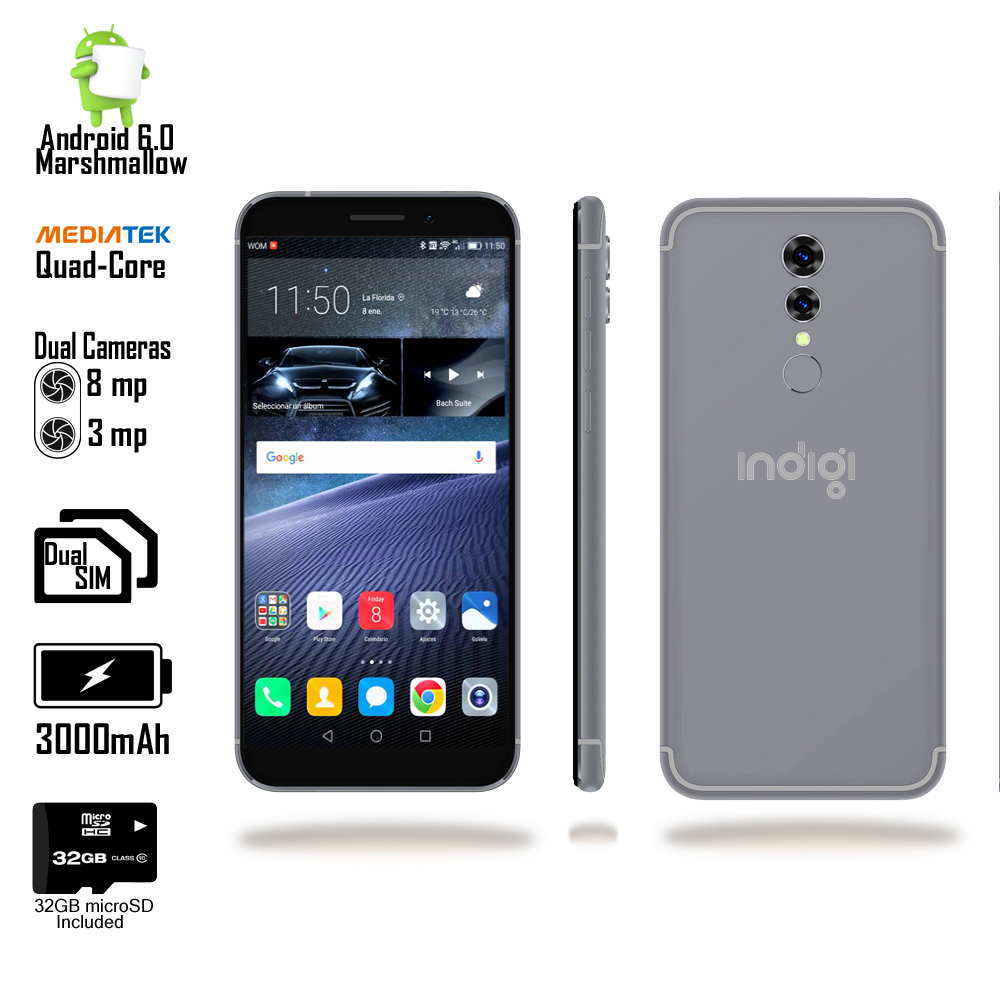 New 2018 Android 5.6-inch Fingerprint Access SmartPhone by Indigi? (QuadCore & DualSIM + 32gb microSD)