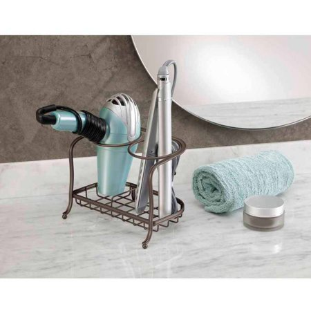 InterDesign York Lyra Hair Dryer and Flat Iron Holder