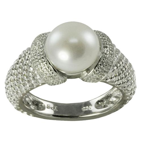 Pearls For You  Sterling Silver White Freshwater Pearl Ring (9-9.5 mm)