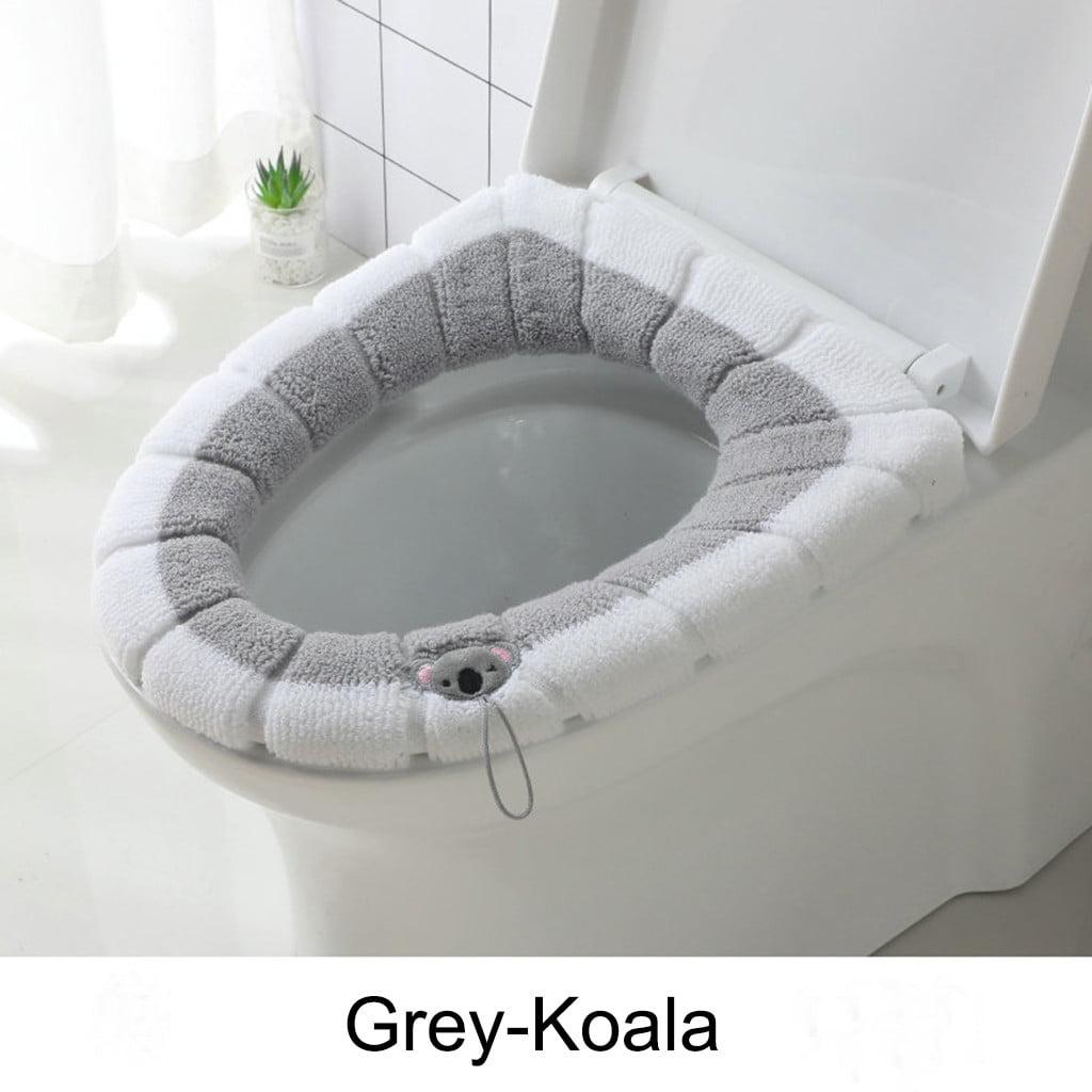 Bathroom Toilet Seat Closestool Soft Warmer Mat Cover Pad Cushion Washable US