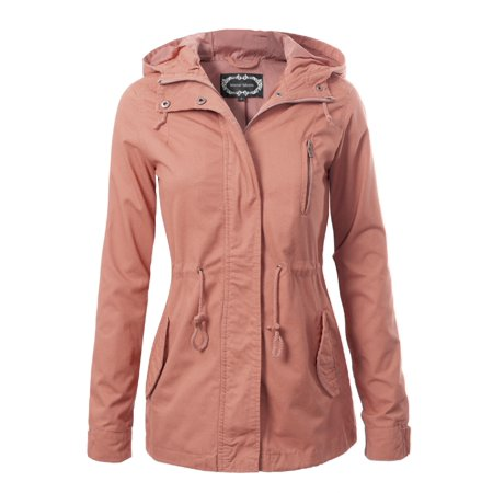 Cotton Shaped Shirt Jacket - Made by Olivia Women's Military Anorak Safari Hoodie Jacket Mauve 2XL
