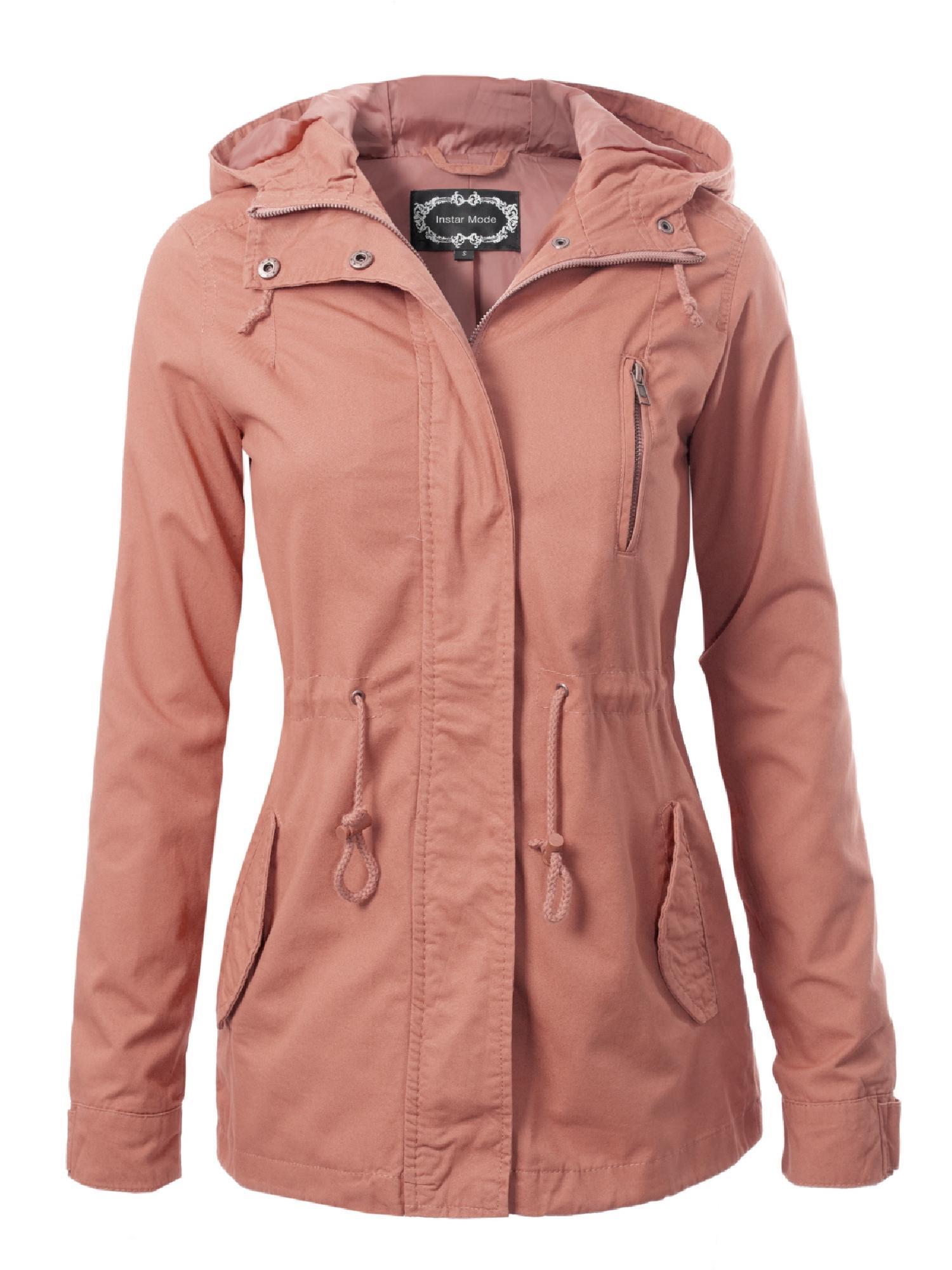 Made by Olivia Women's Military Anorak Safari Hoodie Jacket Mauve 2XL