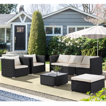 Uenjoy 7PC Outdoor Furniture Rattan Wicker Patio Sectional Sofa Set with  Cushions, Black - Uenjoy 7PC Outdoor Furniture Rattan Wicker Patio Sectional Sofa Set
