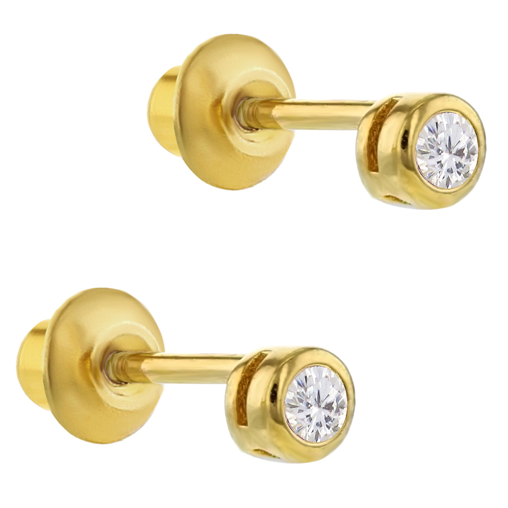925 Sterling Silver Clear CZ Screw Back Tiny Round Baby Girl Earrings - image 1 of 4