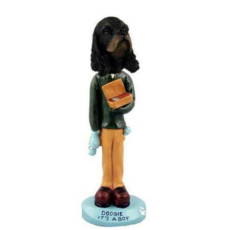 (No.Doog15F79 Cocker Spaniel Black & Tan it's A Boy Doogie Collectable Figurine)