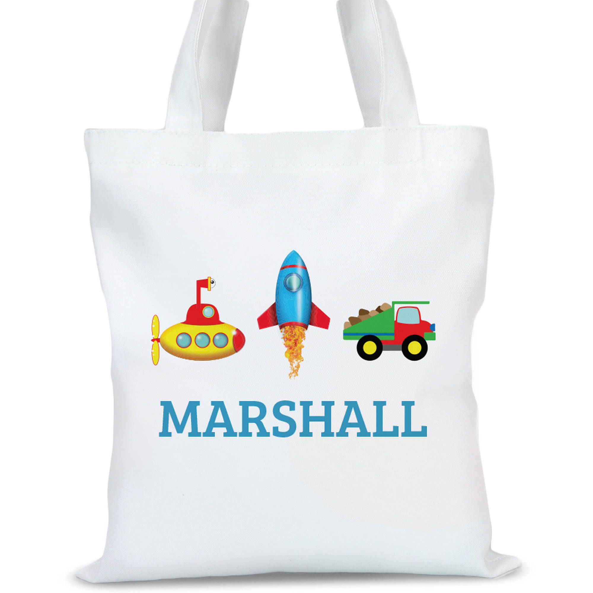 "Personalized Transportation Kids Tote Bag, Sizes 11"" x 11.75"" and 15"" x 16.25"""