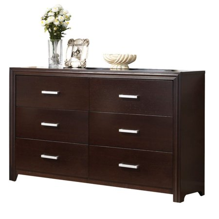 acme furniture ajay espresso dresser with six drawers 88974