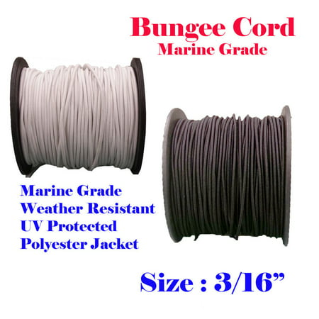 "3/16"" x 60 Ft Black Premium Marine Grade Bungee Shock Stretch Cord UV Resitance Heavy Duty for boat Kayak"