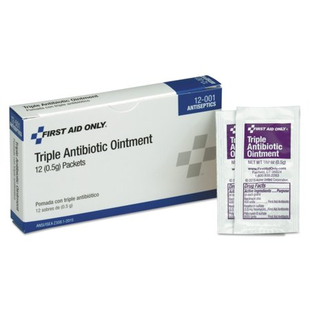 PhysiciansCare by First Aid Only First Aid Kit Refill Triple Antibiotic Ointment, 12/Box (first aid kit antibiotic ointment)