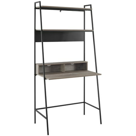 36 inch Metal and Wood Ladder Desk in Grey