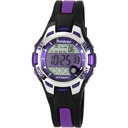 Armitron Women's Purple Accent Digital Watch, Black and Purple Resin Strap