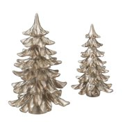 set of 2 silent luxury platinum silver glittered table top christmas tree decorations 105 - Table Top Christmas Trees