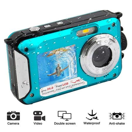 1080P Full HD Waterproof Digital Camera Underwater Camera 24 MP Video Recorder Selfie Dual Screen DV Recording Camera