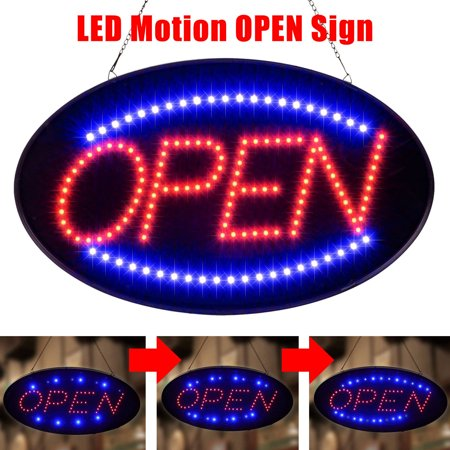 TSV Ultra Bright LED Neon Light Animated Motion OPEN Business Sign with ON/OFF - Open Closed Neon Sign
