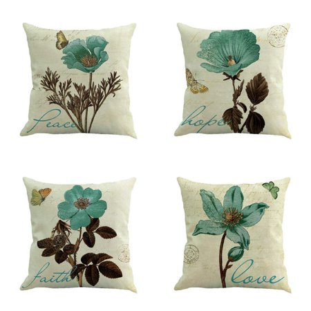 Hippy Home Decor (Popeven Set of 4 Throw Pillow Covers Boho Hippy Elephant Tree of Life Cushion Cover Throw Floral Printed Pillow Case 18 X 18 Inch)