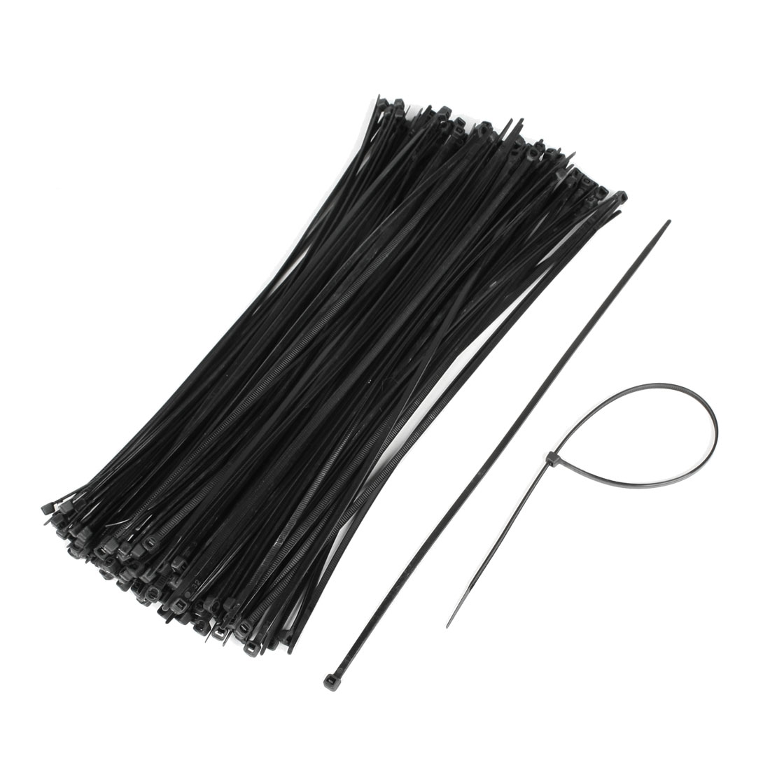 Unique Bargains 200 Pcs Self Locking Nylon Cable Wire Zip Tie Wrap Black 3.5mm x 300mm