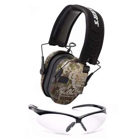 Walker's Razor Slim Electronic Hearing Muffs (Camo) and Shooting Glasses (Kit Muff)