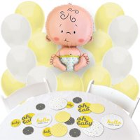 Hello Little One - Yellow and Gray - Confetti and Balloon Neutral Baby Shower Decorations - Combo Kit