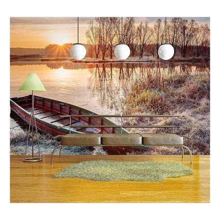 wall26 - Calm Water of Lake, River and Rowing Fishing Boat at Beautiful Sunrise in Autumn Morning. - Removable Wall Mural | Self-adhesive Large Wallpaper - 100x144 (Best Boat For River And Lake Fishing)