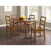Mainstays 5 Piece Dining Set Walnut Finish And Solid Wood Seats