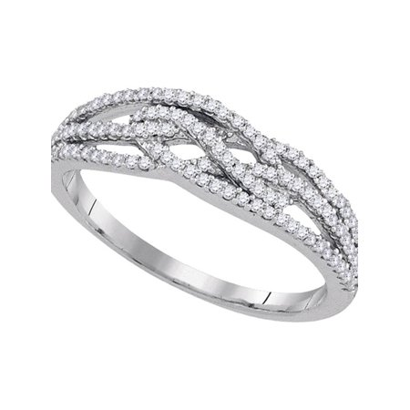10kt White Gold Womens Round Diamond Woven Band Ring 1/3 Cttw - image 1 de 1