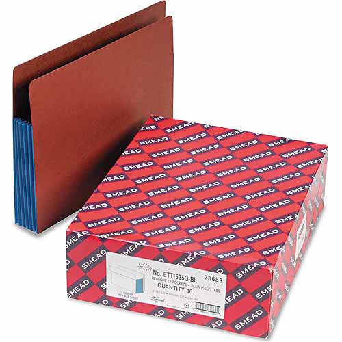 "Smead 5-1/4"" Accordion Expansion File Pockets, Blue, 10ct"
