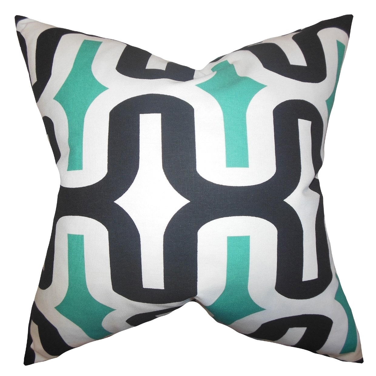 The Pillow Collection Jaslene Geometric Jade Feather Filled Throw Pillow