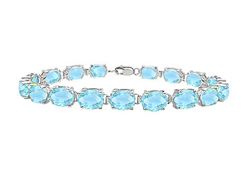 14K White Gold Prong Set Oval Aquamarine Bracelet with 15.00 CT TGW by Love Bright