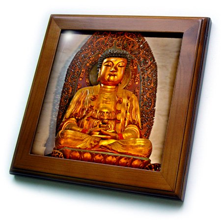 3dRose Colorful Buddha at the Jade Buddha Temple, Shanghai, China - Framed Tile, 6 by 6-inch