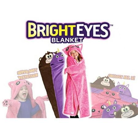 Bright Eyes Blanket SUPER SOFT Snuggie for Kids Hooded, Blanket, Robe Comfy Throw Blanket, Pink Kitten; Warm Fuzzy Blanket