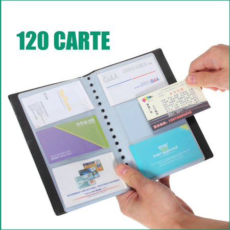 - Leather 40 Pages 120 Cards Business Name ID Credit Card Holder Book Organizer Keeper Wallet Case