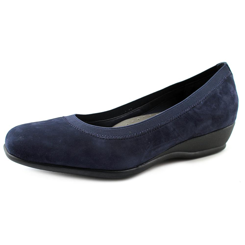 Trotters Lansing Women N S Open Toe Suede Blue Wedge Heel by Trotters