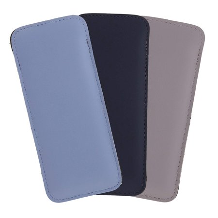 3 Pack Small Faux Leather Eyeglass Slip Case For Women & Men, Baby Blue/Navy/Gray