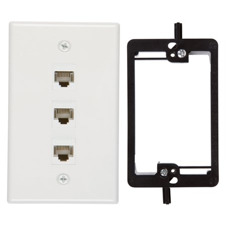 Buyer\'s Point 3 Port Cat6 Wall Plate, Female-Female White with ...