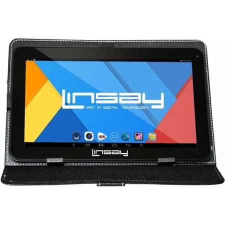 """LINSAY 10.1"""" Touchscreen Quad Core Tablet PC Featuring Android 4.4 (KitKat) Operating System Bundle with Black Case"""