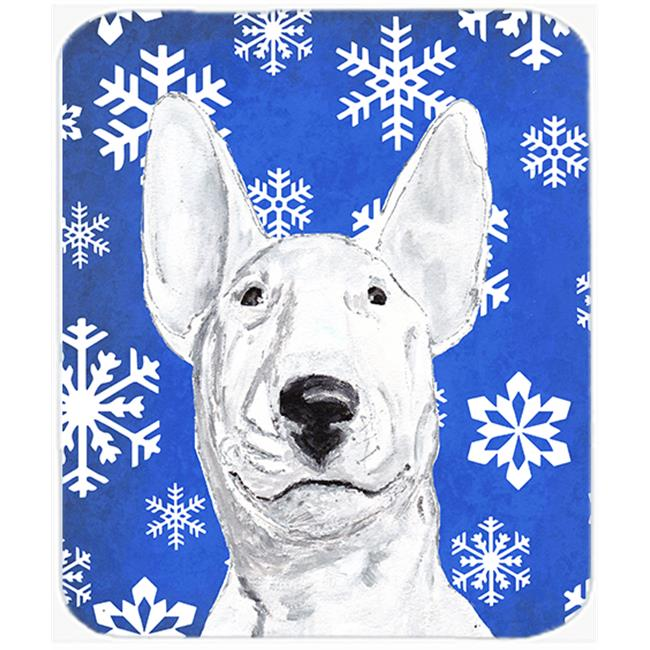 7.75 x 9.25 in. Bull Terrier Blue Snowflake Winter Mouse Pad, Hot Pad or Trivet