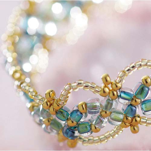 Create Your Own DIY Miyuki Glass Bead Bracelet Kit - Blue Yellow Flowers
