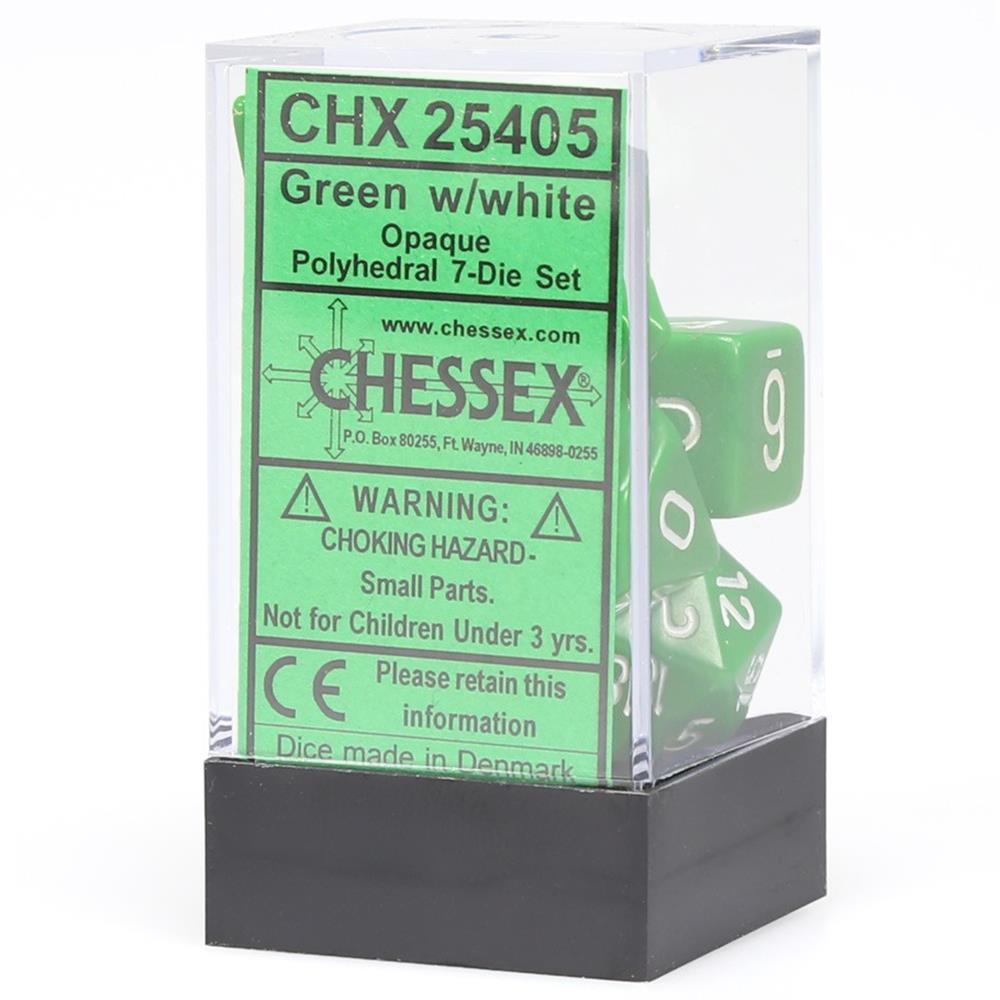 Polyhedral 7-Die Opaque Dice Set Green w/White Chessex Manufacturing CHX25405
