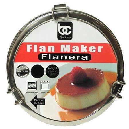 Flan Mold Stainless Steel 1 Qt. Capacity & 7 Flan Recipes Included (Flanera)