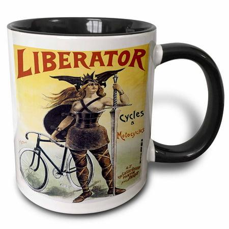 3dRose Vintage Liberator Cycles and Motorcycles Paris France Advertising Poster - Two Tone Black Mug,