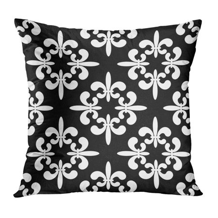 ECCOT Fleur Black Silhouettes Gothic Lily Flowers on Endless Lis LYS Pattern Antique Arms Pillow Case Pillow Cover 16x16 - Lily Silhouette
