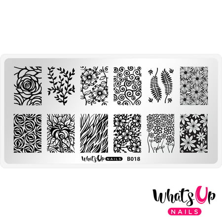 Whats Up Nails - B018 Fields of Flowers Stamping Plate Nail Art Design - Flowers Designs Nail Art