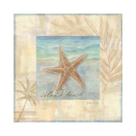 Island Shell II by Cynthia Coulter 12x12 Art Print Poster   Starfish Island Beach Seashells Ocean Palm Tree Seaside