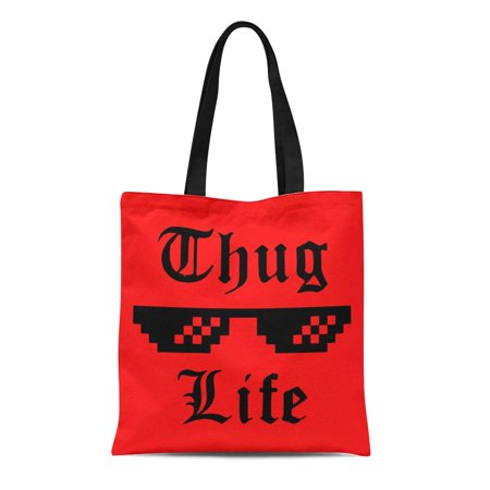 SIDONKU Canvas Tote Bag Thug Life Glasses Meme Applique Label for Jeans Casual Durable Reusable Shopping Shoulder Grocery (Jins Glasses)