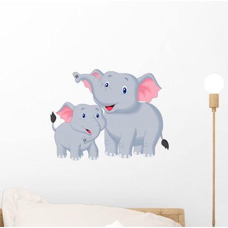 Mom Wall - Mother and Baby Elephant Wall Decal Mural by Wallmonkeys Vinyl Peel and Stick Graphic for Girls (12 in W x 9 in H)