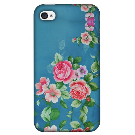 iPhone 4S Case, iPhone 4 Case - Rose Print Provencal,Hard Plastic Back Cover, Slim Profile Cute Printed Designer Snap on Case with Screen Cleaning