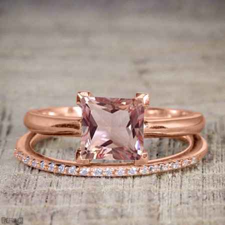 Perfect 1.25 Carat Princess cut Morganite and Diamond Bridal Ring Set in Rose Gold
